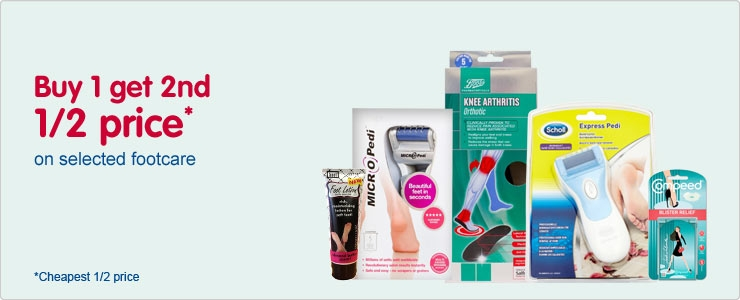 Buy one get the second half price on selected footcare