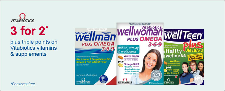 3 for 2 plus triple points on Vitabiotics