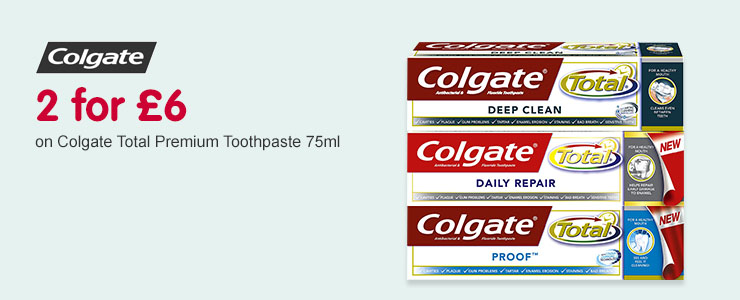 2 for £6 on Colgate Total Toothpastes