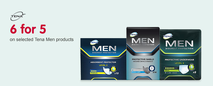 6 for 5 on selected tena men products
