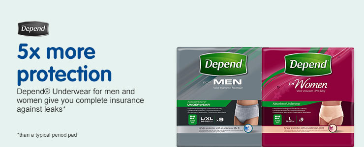 Depend 5 x more protection