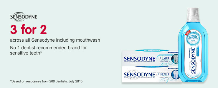 3 for 2 across selected Sensodyne including mouthwash