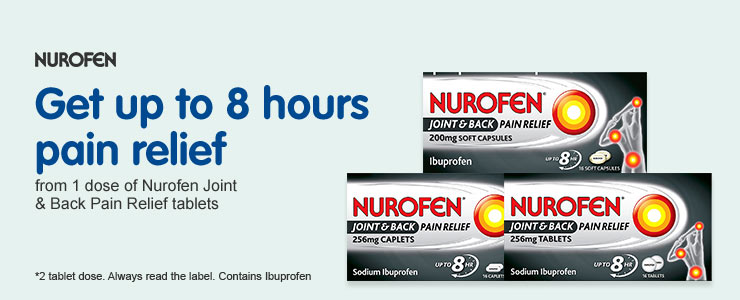 Get up to 8 hours pain relief with Nurofen Joint and Back Relief