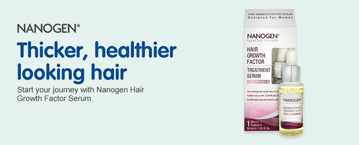 Thicker, healthier looking hair with Nanogen Growth Factor Serum