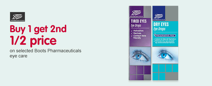 Buy 1 get 2nd 1/2 price on selected Boots Pharmaceuticals eye care