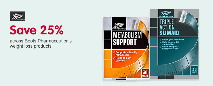 Save 25% on Boots Pharmaceuticals slimming aid products