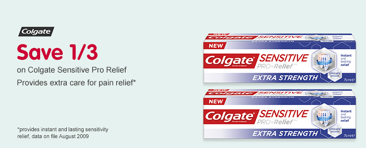 Save 1/3 on Colgate Sensitive Pro Relief