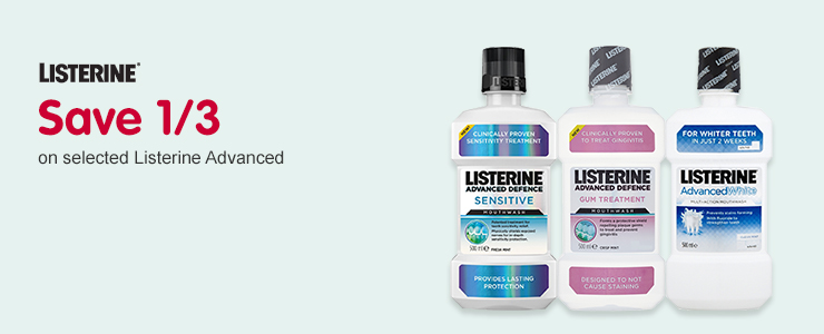 Save 1/3 on selected Listerine Advanced