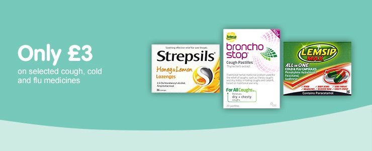 Only £3 on selected Cough, Cold, and Flu products