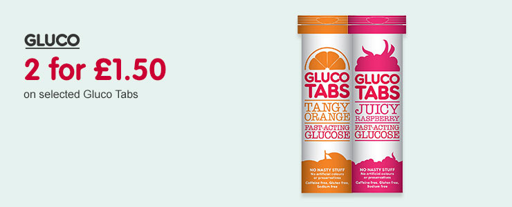 2 for £1.50 on selected Glucotabs