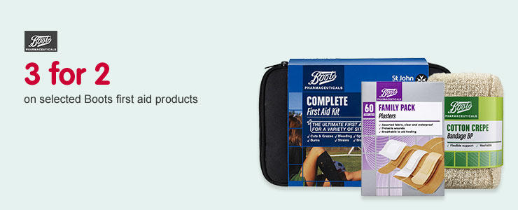 3 for 2 on selected Boots first aid