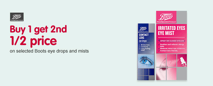 Buy 1 get 2nd half price on Boots eye drops and mists