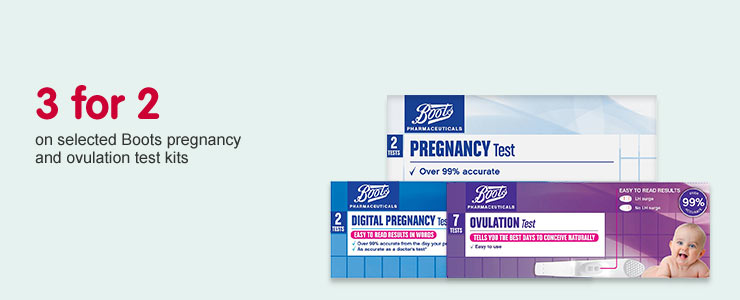 3 for 2 on selected Boots pregnancy and ovulation test kits