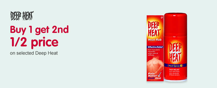 Buy one get the second half price on selected Deep Heat