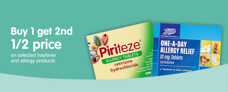 Buy one get second half price on selected hayfever and allergy