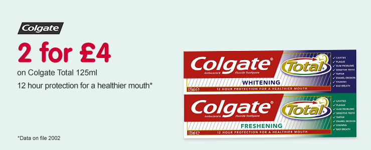 Colgate 2 for £4 on selected Colgate Total 125ml