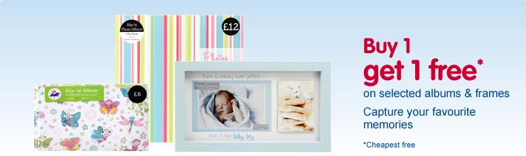 Buy 1 get 1 free on selected frames and albums - cheapest free