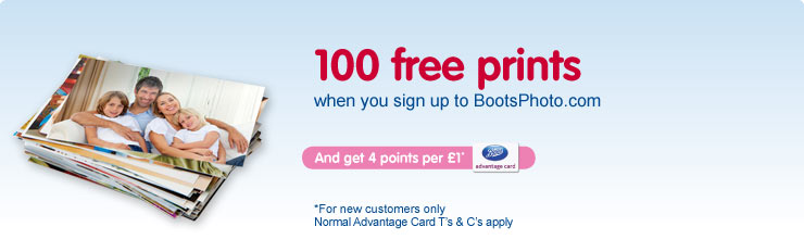 Get 100 free prints when you sign up to Boots Photo when you used code BP100PRT