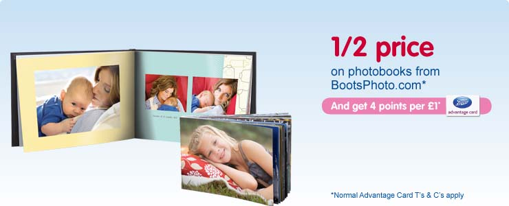 Save up to 50% on selected photobooks on Boots Photo