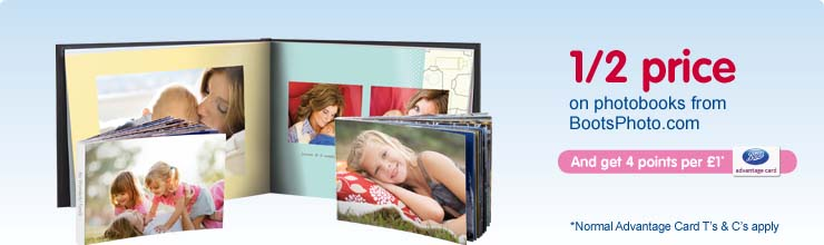 Save up to 50% on selected photobook on BootsPhoto.com