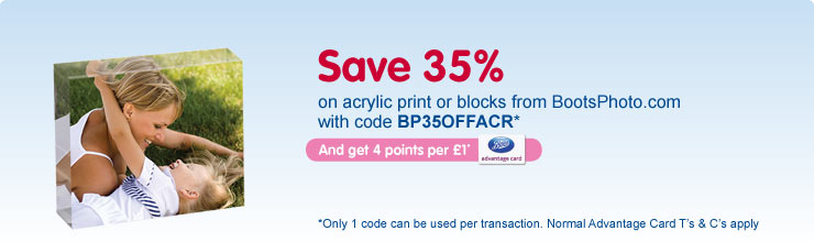 35% off selected acrylic photo prints or blocks