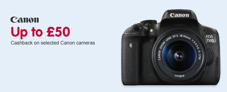 Up to £50 Cashback on selected Canon cameras