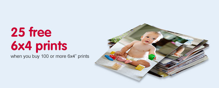 "25 free 6x4"" prints when you buy 100 or more 6x4"" prints"