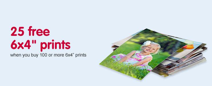 "25 free 6x4"" prints when you buy 100 or more 6x4"" prints"