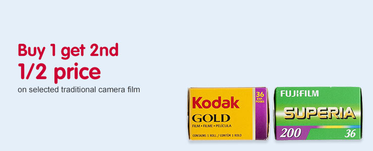 Buy 1 get 2nd half price on selected traditional camera film