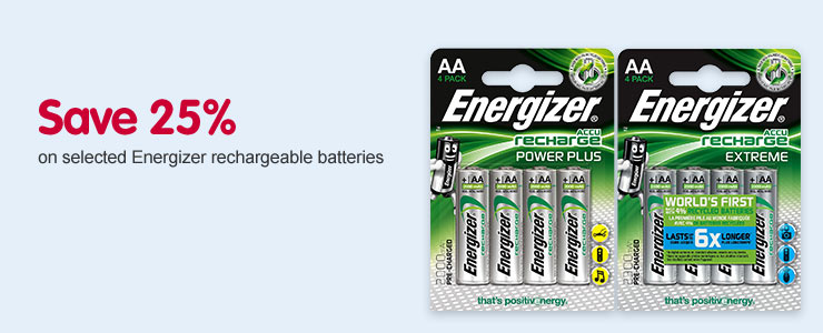 Save 25% on selected Engergizer reachargeable batteries
