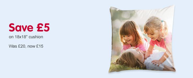 "Save £5 on 18x18"" photo cushion"