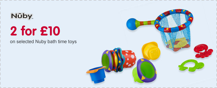 2 for £10 on selected Nuby bath time toys