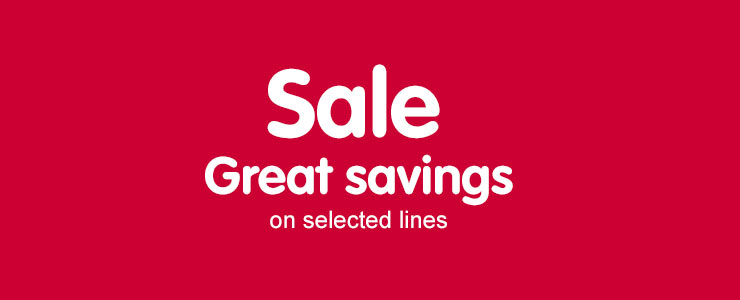 Sale. Great savings on selected lines