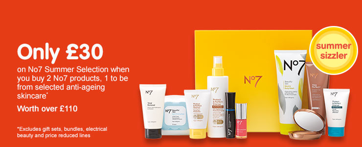Only thirty pounds on No7 summer selection when you buy 2 no7 products, 1 to be anti aging skincare