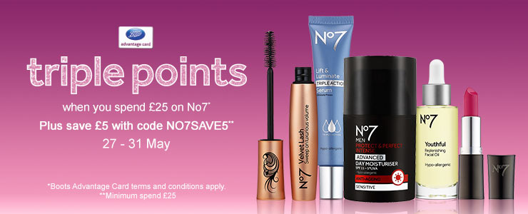 Triple points on selected No7 Skincare