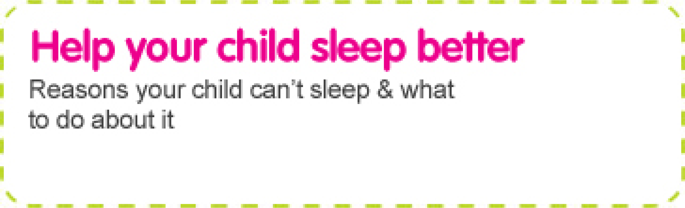 Help children sleep better