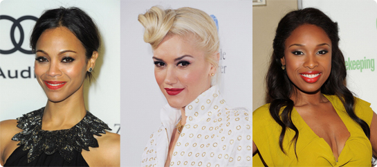 Red lips in action: Zoe Saldana, Gwen Stefani, Jennifer Hudson