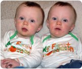 Seven-month-old twin boys Aidan and Daniel