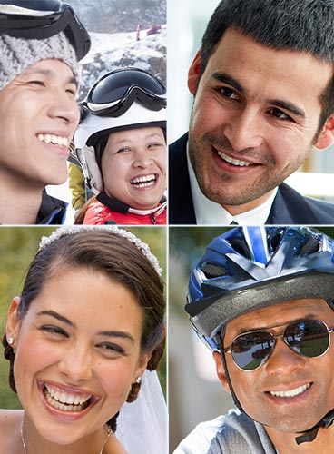 Montage of a couple skiing, a woman on her wedding day, a man in a suit at work and a man cycling in his sunglasses