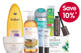 Line up of Boots products including NO7, Soltan, Botanics and Boots Pharmaceuticals