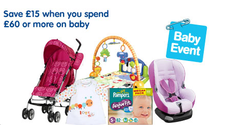Save �15 when you spend �60 on selected baby & toys