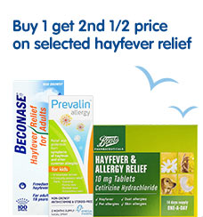 Buy 1 get 2nd half price on selected hayfever relief