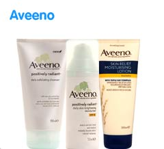 Aveeno. Three for two mix and match on selected skin care, body care, number seven, fake tan, indulgent bathing, vitamins and mens products ? cheapest free