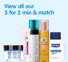 Three for two mix and match on selected skin care, body care, number seven, fake tan, indulgent bathing, vitamins and mens products ? cheapest free