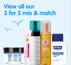Three for two mix and match across selected skin body and sun care, including selected mens lines and number seven