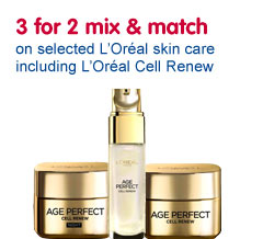 Three for two mix and match on selected loreal skin care
