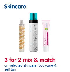 3 for 2 across Skincare, body care and self Tan