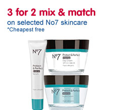 Three for two mix and match on selected number seven skin care