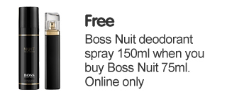 Free Boss Nuit Deodrant Spray 150ml when you buy Boss Nuit 75ml Online Only