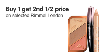 Buy one get the second 1/2 price  on selected Rimmel London